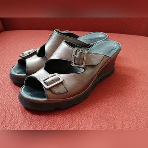 Size US 7 Spring Step Leather Slip-on Mule Wedges